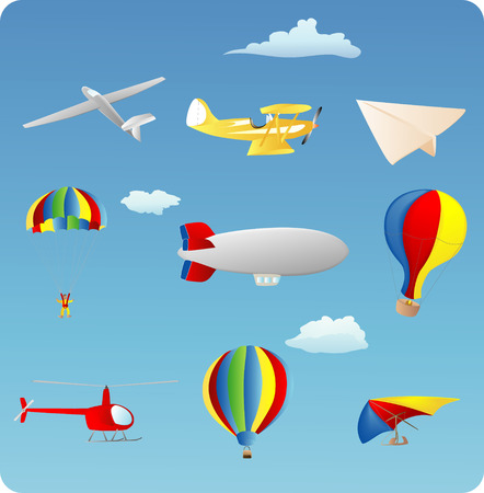 aviation themed set of various types of aircraft