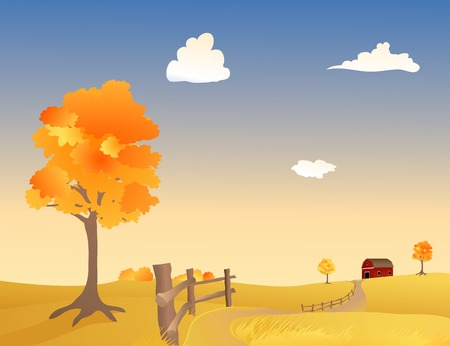 Vector illustration of a Pasture in Autumn