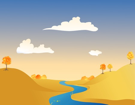 Vector illustration of a river in autumn