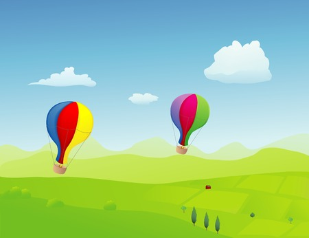 old fashioned: A couple of old fashioned style ballons flying high over the spring countryside
