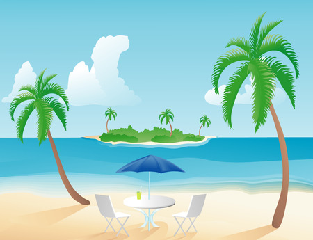Table with umbrella on a tropical beach with palm trees