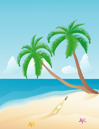 Message in a bottle on a tropical beach Vector
