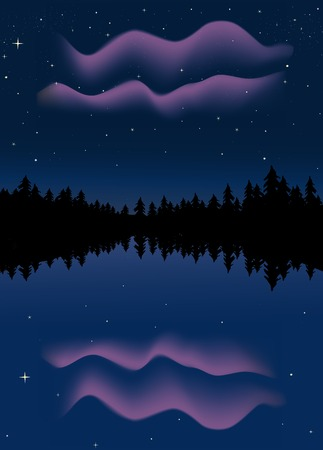 reflected: Northern lights reflected in a lake in summer, gradient mesh used Stock Photo