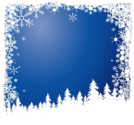 Silhouetted forest in winter vector background