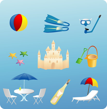 various beach themed objects and elements Illustration