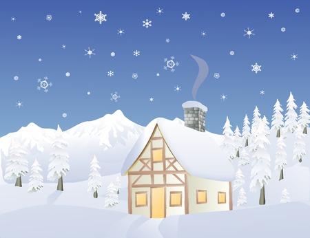 mountainous: Alpine cabin in wintertime in a mountainous forest