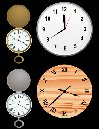 Vector based illustration of wall clocks and gold and silver stopwatch Иллюстрация