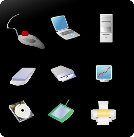 set of various computer related items Illustration