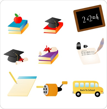 Objects related to school and education Stock Vector - 1676379
