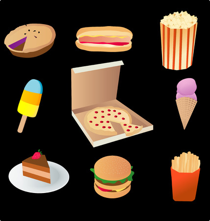 vector based illustration of various junk food Vector
