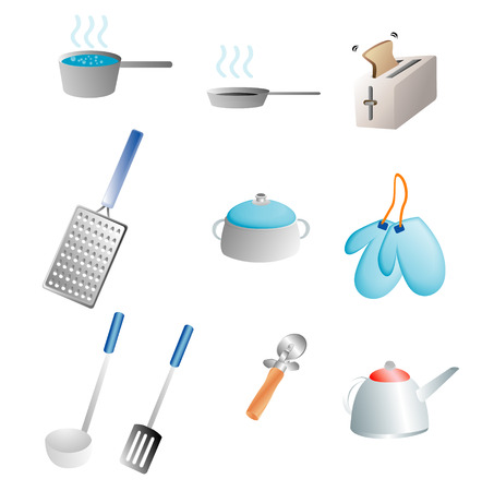 various kitchen items related to cooking Vector