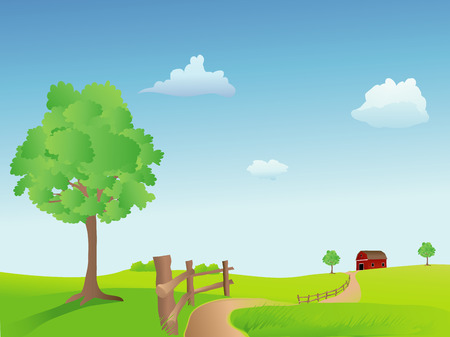 Summer field with a trail, barn, and fence, vector based illustration Stock Illustratie