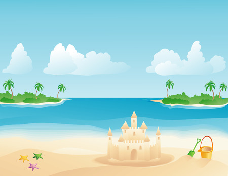 Sand castle on a tropical beach with palm trees Illustration
