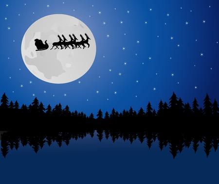 Santa riding his sleigh on a moonlit night photo