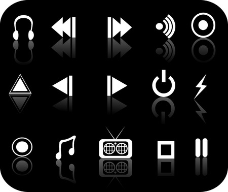 black and white reflective media icon set