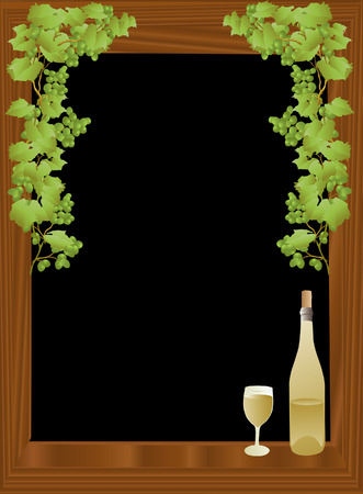 vector based illustration of a wind bottle and glass against a black framed background Çizim