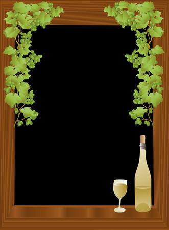 framed: vector based illustration of a wind bottle and glass against a black framed background Illustration