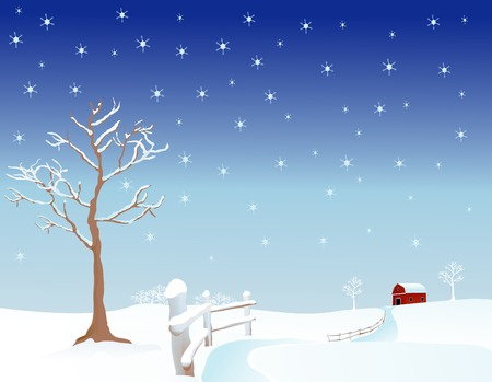 Vector illustration of a pasture in winter Stock Illustration - 1676418