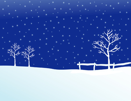 Vector illustration of a pasture in winter Stock Illustration - 1676370