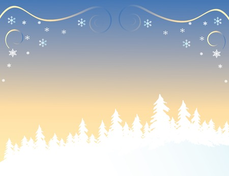 silhouetted: Silhouetted forest in winter vector background