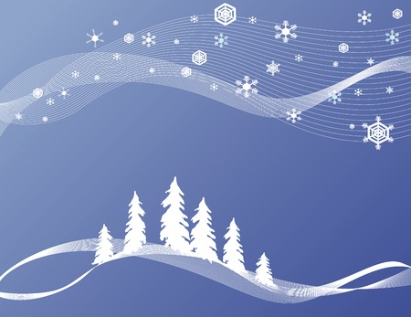 stylized winter/Christmas background with snowflakes and pine trees