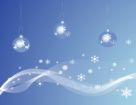 Blue Christmas baubles against a blue backgound with snowflakes Vector