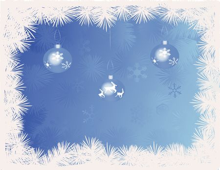 Blue Christmas baubles against a blue backgound with snowflakes photo