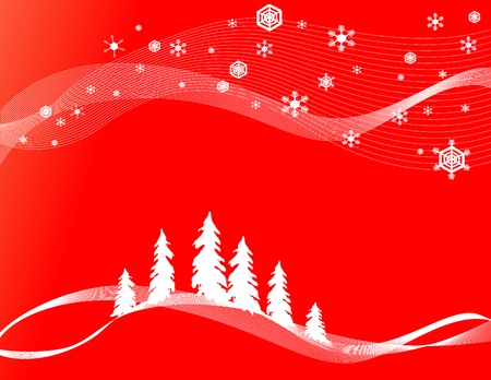christams: Christams forest background with pine trees and snowflakes