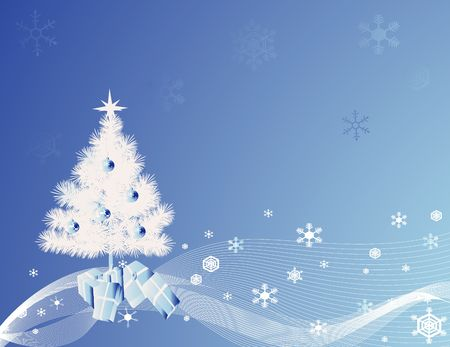 White Christmas tree with a blue background and design photo