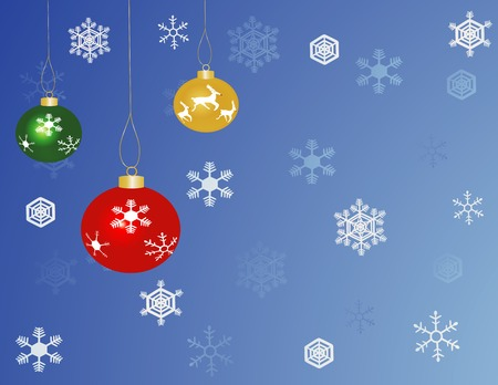 Green, Red, and Yellow Christmas baubles with a blue snowflake background