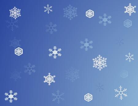青い背景の白い雪