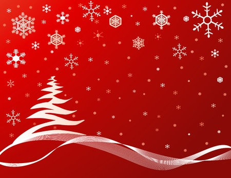 Red background with snowflakes and a Christmas tree