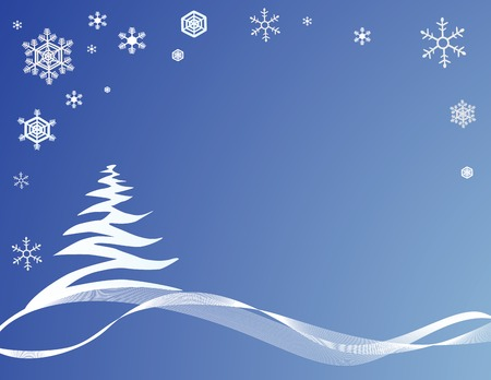 blue Christmas background with stylized tree Vector