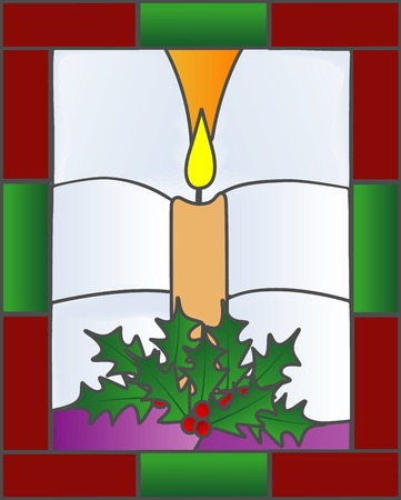 stained glass windows: Illustration of a Christmas candle in a
