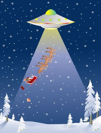 Santa being abducted by a flyinc saucer while trying to deliver presents Stock Photo