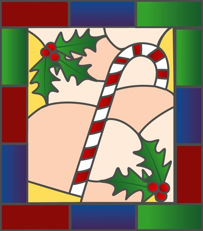 Candycane and holly illustration in a stained glass style