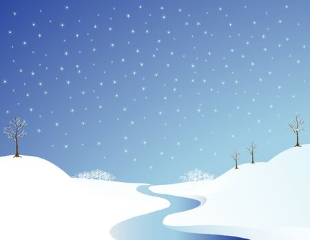frigid: Landscape illustration of a river in wintertime
