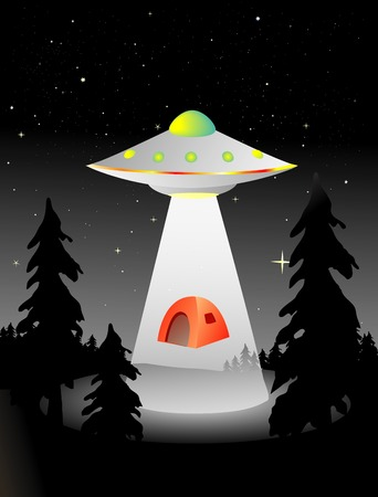 ufo: flying saucer abducting some campers in the middle of the night Illustration