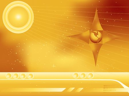 Scifi Outer Space abstract showing the earth and stars in golden colors photo
