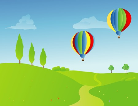 hot: a pair of hot air balloons over a springtime rural landscape Illustration