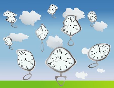 Clockes getting warped by, well, they are just warped, use your imagination:) Vector