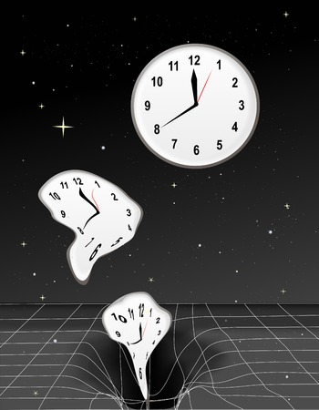 Clocks getting warped and falling into a black hole Stok Fotoğraf - 2232656