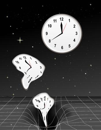 cronologia: Relojes obtener deformado y caer en un agujero negro
