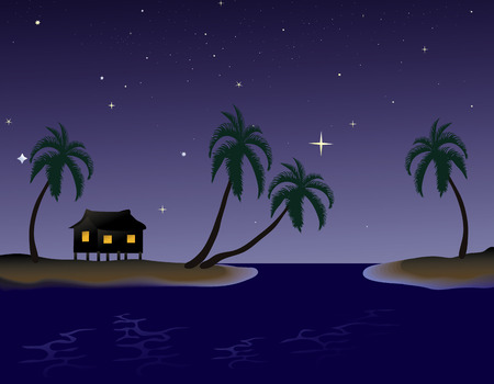 Tropical Night with a little hut Çizim