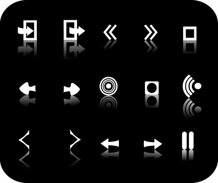 White reflective miscellanious symbols with a black background