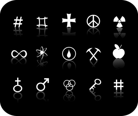 White reflective miscellanious signs with a black background icon set Vector