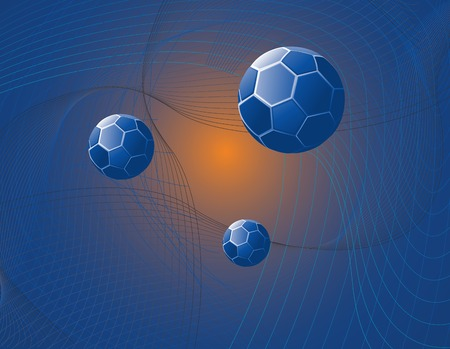 drifting: Abstract illustration of blue multi faceted spheres drifting toward a light