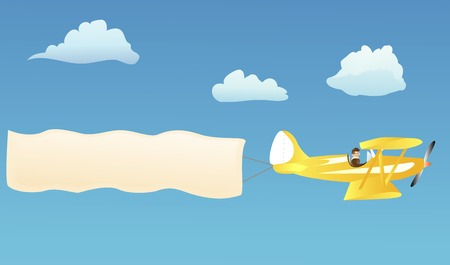 biplane: Biplane hauling blank advertisement banner to put your own words on Illustration