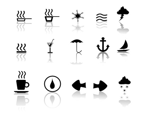 Black over White miscillaneous icon set Vector
