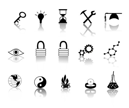 reflect: various black over white miscillaneous icons vector illustration